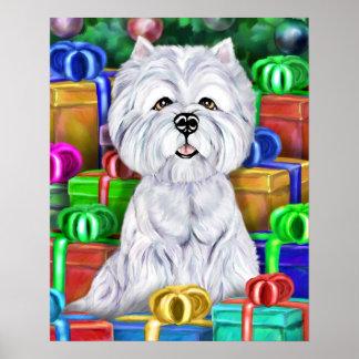El navidad de Westie abre los regalos Impresiones
