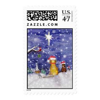 El navidad del animal sello postal