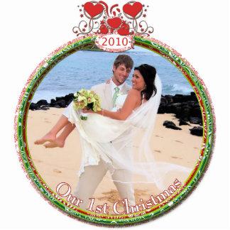El navidad del boda adorna nuestro 1r navidad adorno fotoescultura