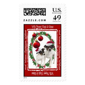 El navidad del fox terrier del juguete abraza y timbre postal