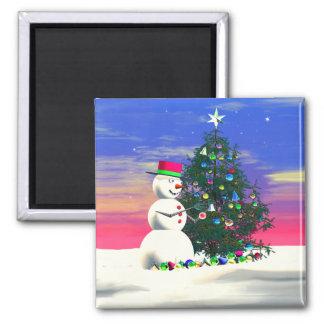 El navidad del muñeco de nieve imán cuadrado
