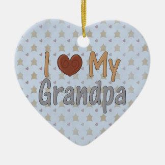 El navidad del país ama mi ornamento del abuelo adorno navideño de cerámica en forma de corazón