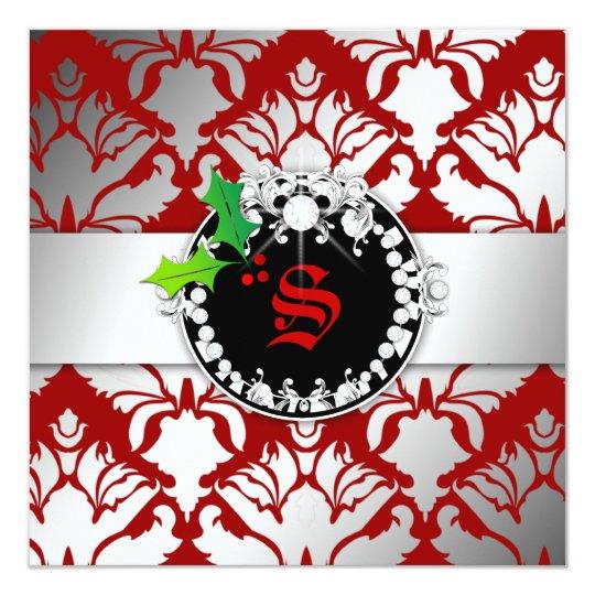 """el navidad del reflejo 311-Damask invita a rojo Invitación 5.25"""" X 5.25"""""""
