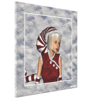 El navidad del retrato del duende de la nieve del  impresión en lienzo