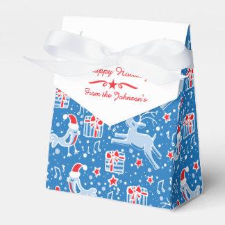 El navidad del rojo azul del pájaro del reno caja para regalos de fiestas