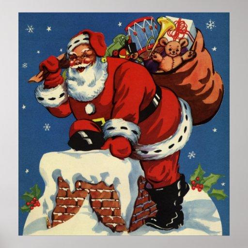 El navidad del vintage, chimenea w de Papá Noel Póster