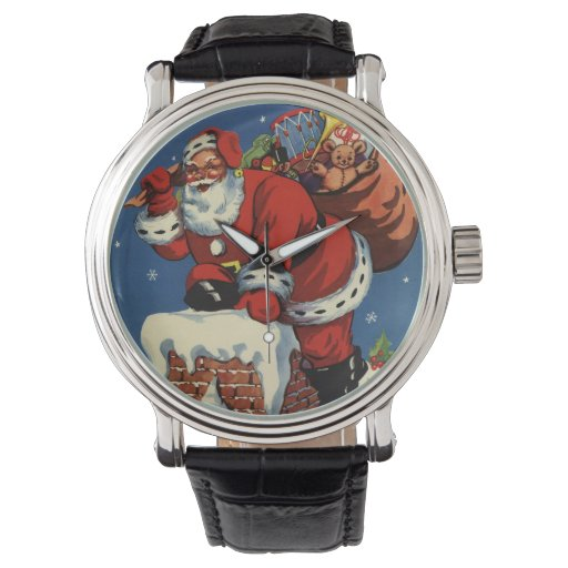 El navidad del vintage, chimenea w de Papá Noel Reloj