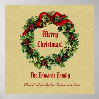 El navidad del vintage enrruella las Felices Navid Posters