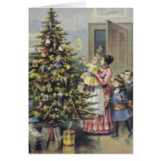 El navidad del vintage le agradece tarjeta pequeña
