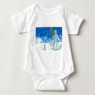 El navidad del vintage, nieva doncella body para bebé