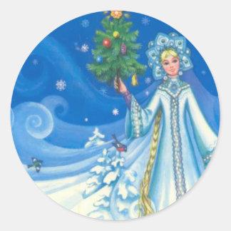 El navidad del vintage, nieva doncella pegatina redonda