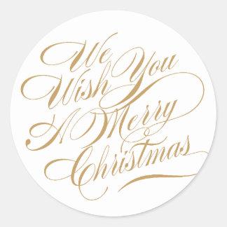 El navidad desea el oro/el blanco del   pegatina redonda