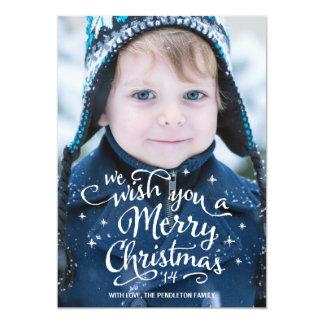 El navidad desea la tarjeta de la foto del día de comunicado personal