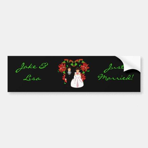 El navidad/diciembre acaba de casar a la pegatina  etiqueta de parachoque