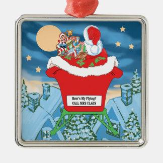 El navidad divertido de Papá Noel Humor cómo está Adorno Cuadrado Plateado