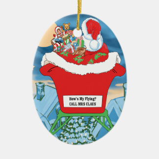 El navidad divertido de Papá Noel Humor cómo está Adorno Ovalado De Cerámica