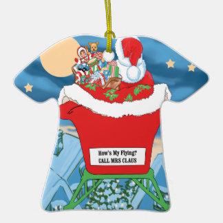 El navidad divertido de Papá Noel Humor cómo está Adorno De Cerámica En Forma De Camiseta