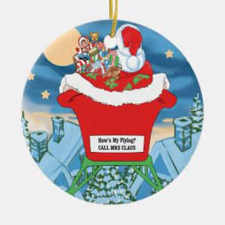 El navidad divertido de Papá Noel Humor cómo está Adorno Redondo De Cerámica