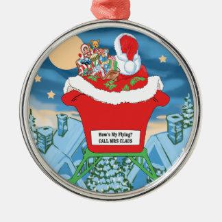 El navidad divertido de Papá Noel Humor cómo está Adorno Redondo Plateado