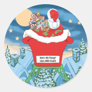 El navidad divertido de Papá Noel Humor cómo está Pegatina Redonda