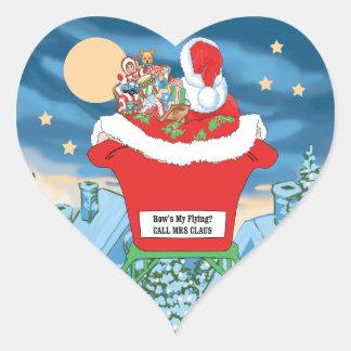 El navidad divertido de Papá Noel Humor cómo está Pegatina En Forma De Corazón