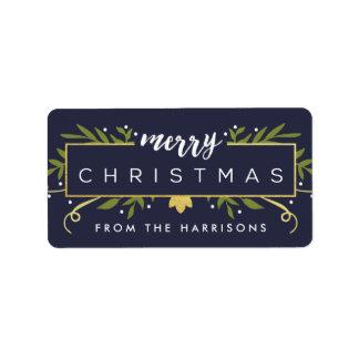 El navidad dorado personalizó etiquetas del regalo etiquetas de dirección