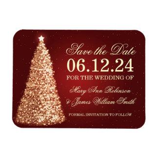 El navidad elegante ahorra el rojo del oro de la iman rectangular