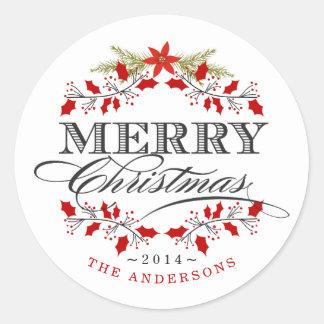 El navidad elegante del acebo enrruella al pegatina redonda