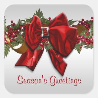 El navidad elegante que saluda PERSONALIZA Pegatina Cuadrada