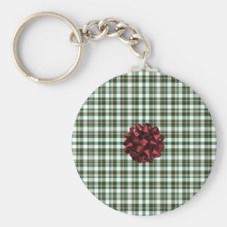 El navidad empaqueta el arco rojo llavero redondo tipo pin