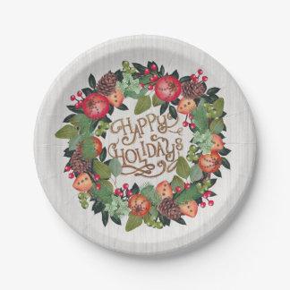 El navidad enrruella buenas fiestas plato de papel de 7 pulgadas