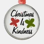 El navidad es amabilidad adorno redondo plateado