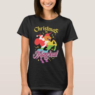 El navidad es unicornio mágico del montar a playera