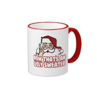 El navidad feo jura a Papá Noel Taza De Dos Colores