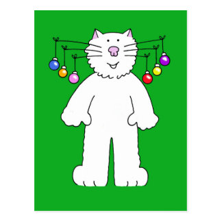 El navidad gato, chucherías que cuelgan de él es postales