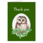 El navidad le agradece acebo lindo del pájaro del  tarjeton