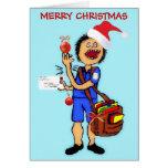 El navidad le agradece cartero tarjetón