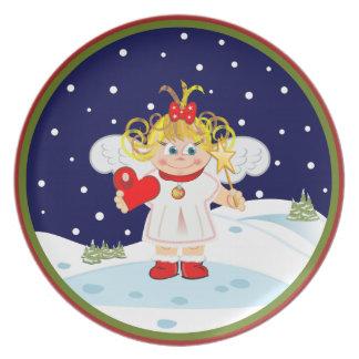 El navidad lindo del ángel Plats Platos De Comidas