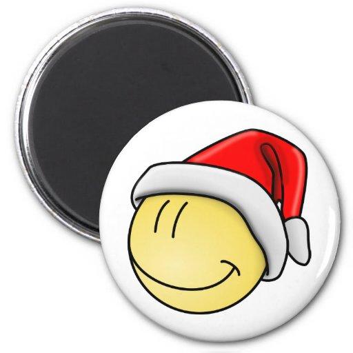 El navidad lindo Santa sonriente hace frente Imán Redondo 5 Cm