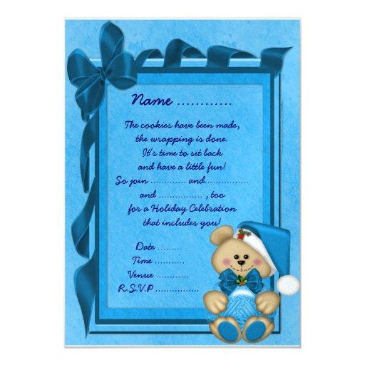 El navidad lleva (azul) - invitación