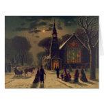 El navidad mantiene 1878 tarjeta de felicitación grande