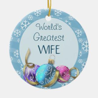 El navidad más grande de la esposa del mundo adorno redondo de cerámica