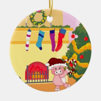 El navidad mide el tiempo del ornamento guarro adorno navideño redondo de cerámica