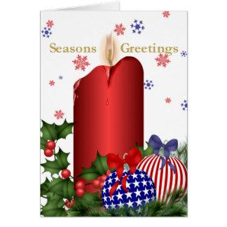 El navidad mira al trasluz y los bulbos tarjeta de felicitación