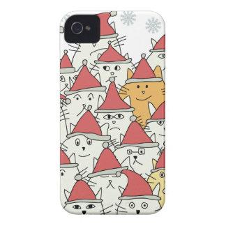 El navidad modela con muchos gatos divertidos funda para iPhone 4 de Case-Mate