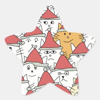 El navidad modela con muchos gatos divertidos pegatina en forma de estrella