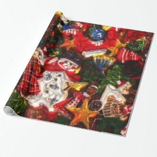 El navidad modela el papel de embalaje brillante papel de regalo