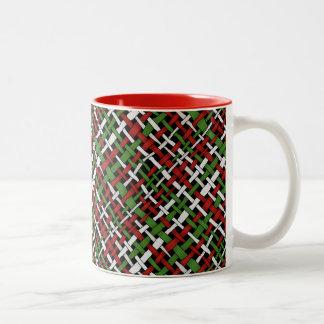 El navidad modela la arpillera tejida gráfica taza de dos tonos
