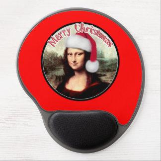 El navidad Mona Lisa lleva un gorra de Santa Alfombrillas Con Gel