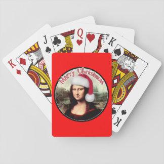 El navidad Mona Lisa lleva un gorra de Santa Naipes